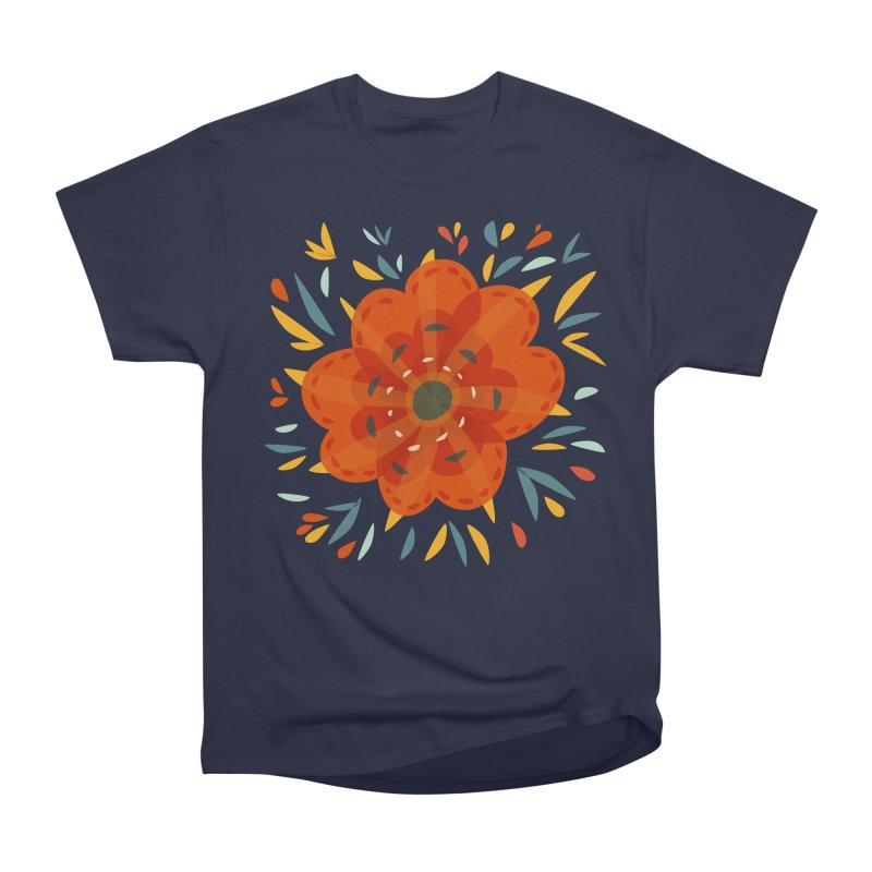 Decorative Orange Flower Women's Heavyweight Unisex T-Shirt by Boriana's Artist Shop