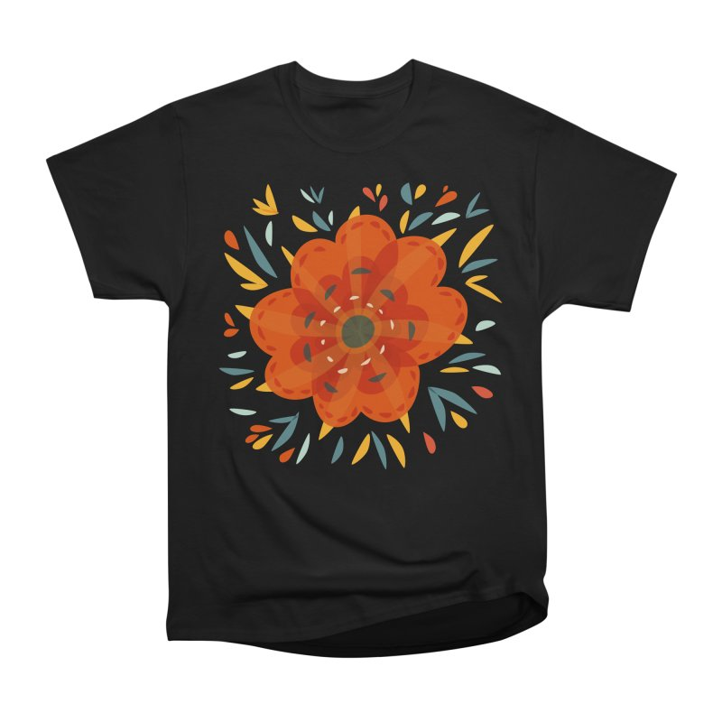 Decorative Orange Flower Men's Heavyweight T-Shirt by Boriana's Artist Shop