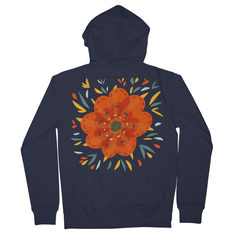 Decorative Orange Flower Women's French Terry Zip-Up Hoody by Boriana's Artist Shop