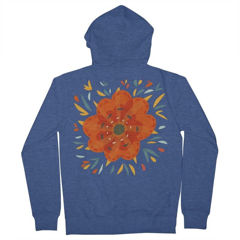 Decorative Orange Flower Men's French Terry Zip-Up Hoody by Boriana's Artist Shop