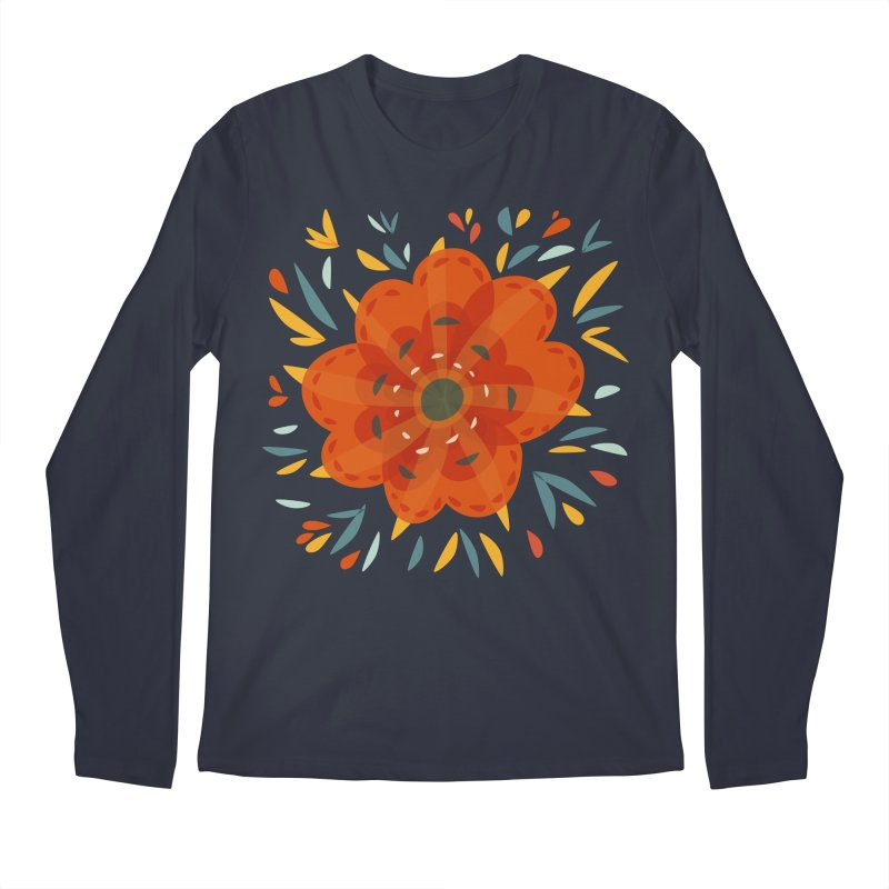 Decorative Orange Flower Men's Regular Longsleeve T-Shirt by Boriana's Artist Shop