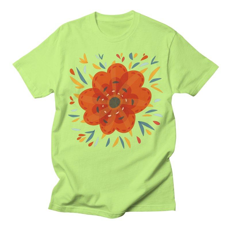 Decorative Orange Flower Women's Regular Unisex T-Shirt by Boriana's Artist Shop