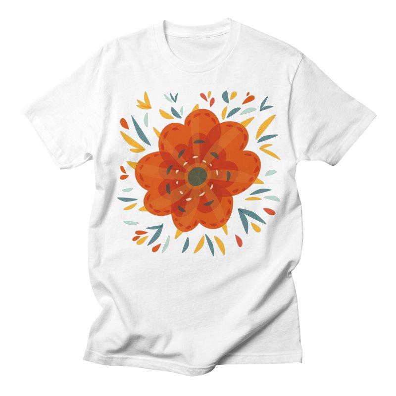Decorative Orange Flower Men's Regular T-Shirt by Boriana's Artist Shop