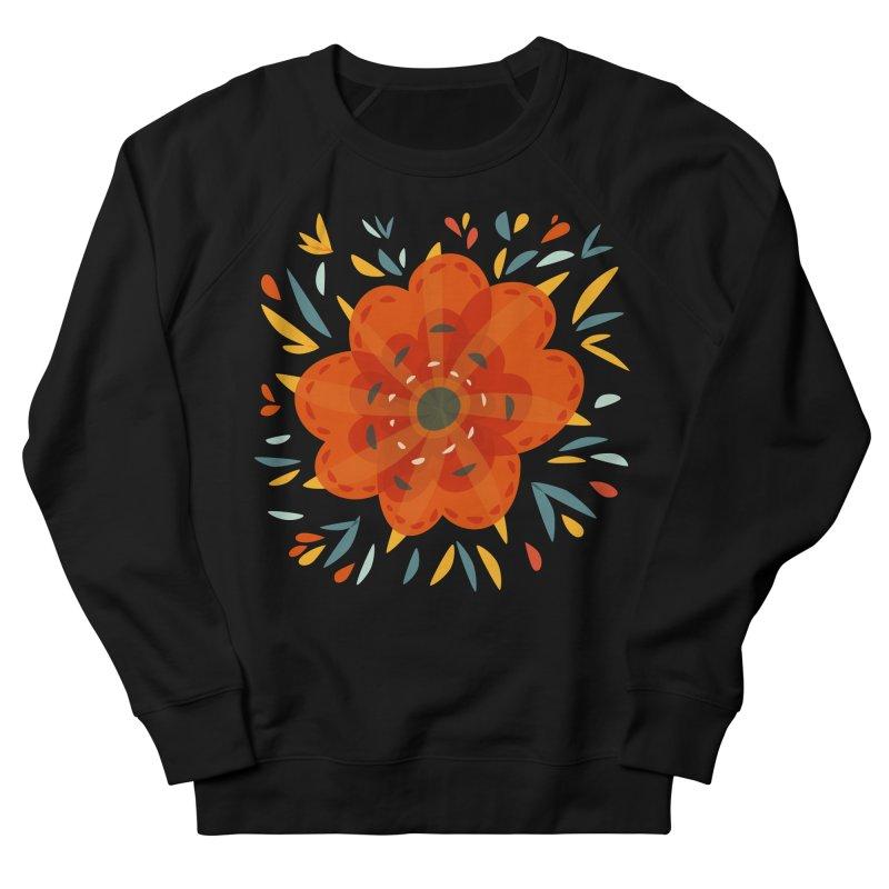 Decorative Orange Flower Men's French Terry Sweatshirt by Boriana's Artist Shop