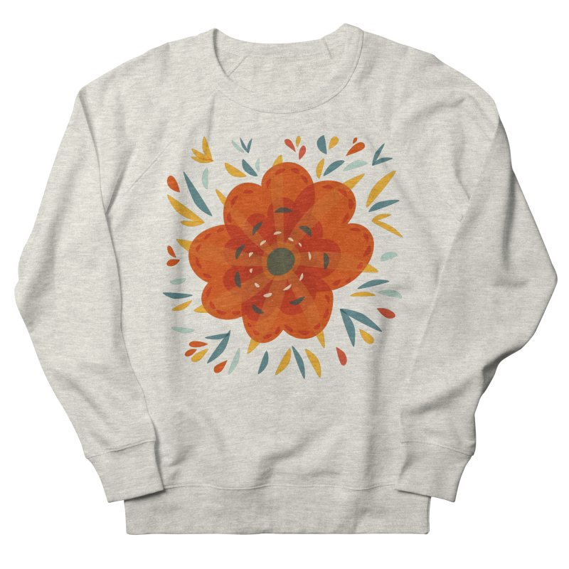 Decorative Orange Flower Men's French Terry Sweatshirt by Boriana's Artist Shop