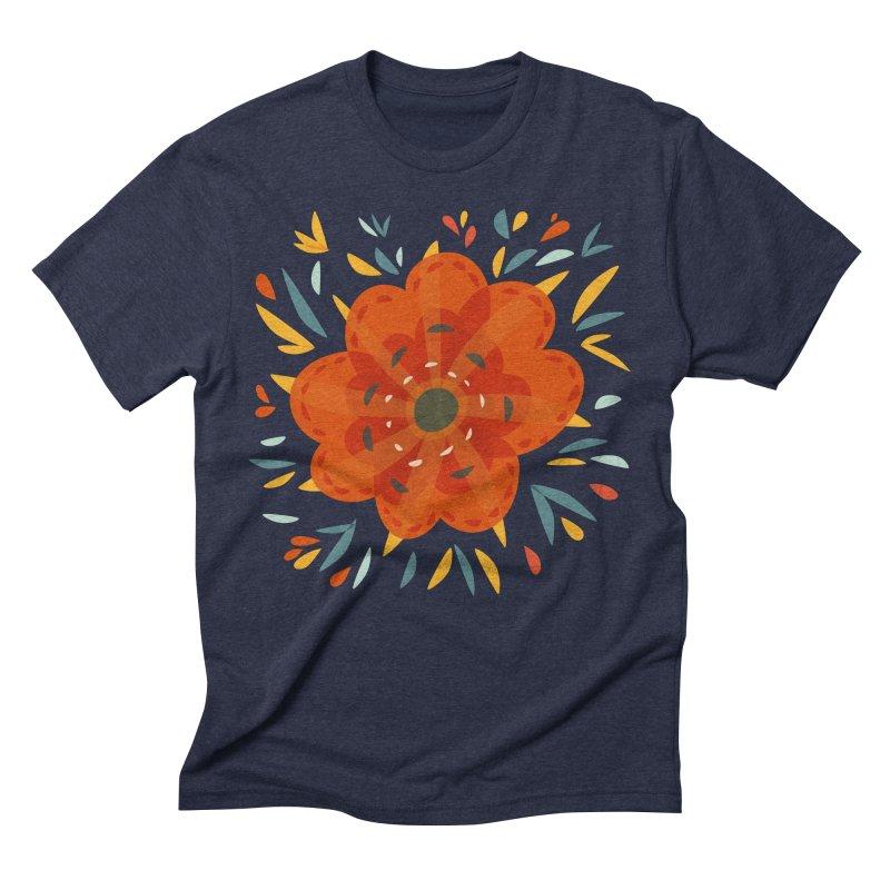 Decorative Orange Flower Men's Triblend T-Shirt by Boriana's Artist Shop