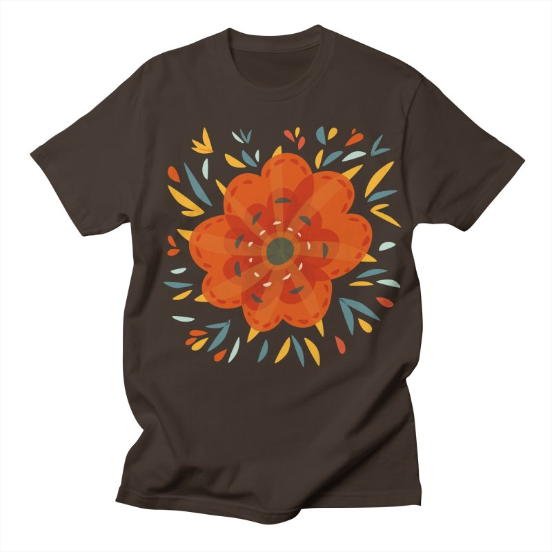 Decorative Orange Flower Men's Regular T-Shirt by Boriana's Artist Shop