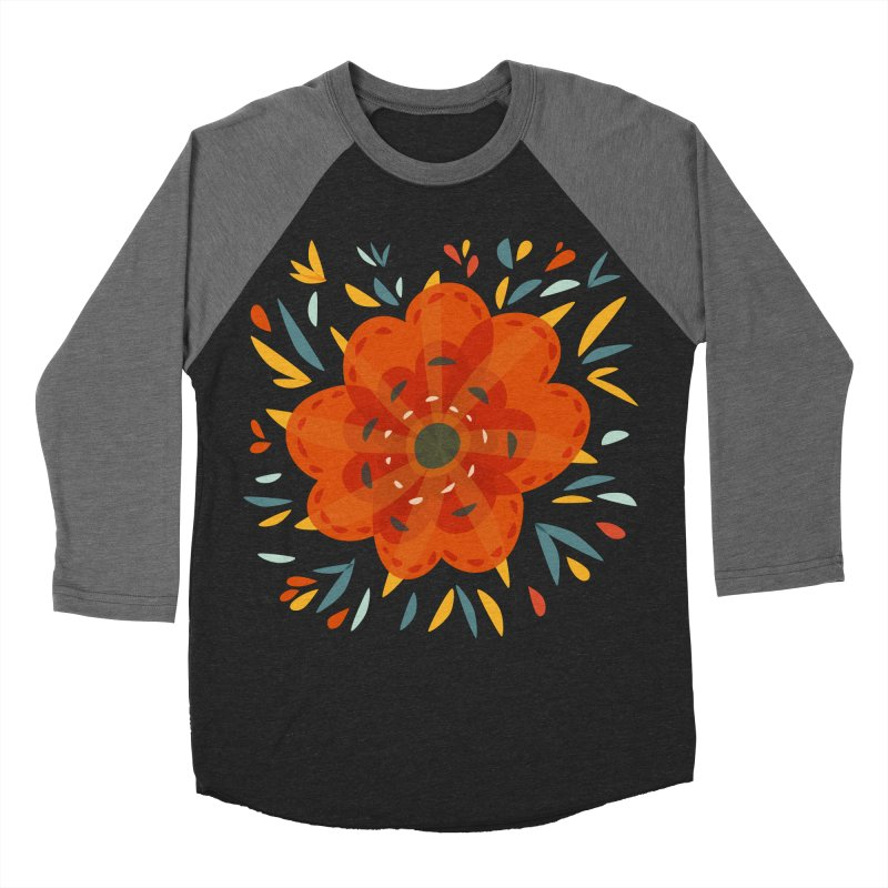 Decorative Orange Flower Men's Baseball Triblend Longsleeve T-Shirt by Boriana's Artist Shop