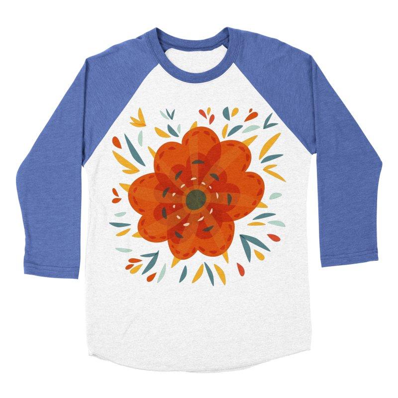 Decorative Orange Flower Men's Baseball Triblend Longsleeve T-Shirt by Boriana's Artist Shop
