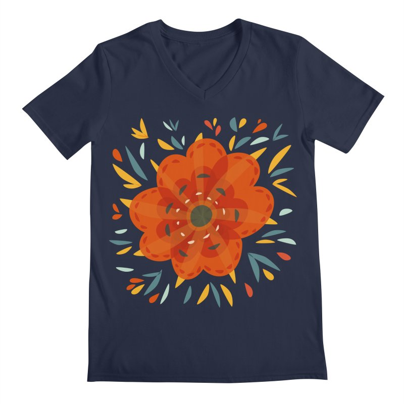 Decorative Orange Flower Men's Regular V-Neck by Boriana's Artist Shop