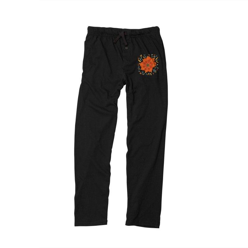 Decorative Orange Flower Women's Lounge Pants by Boriana's Artist Shop