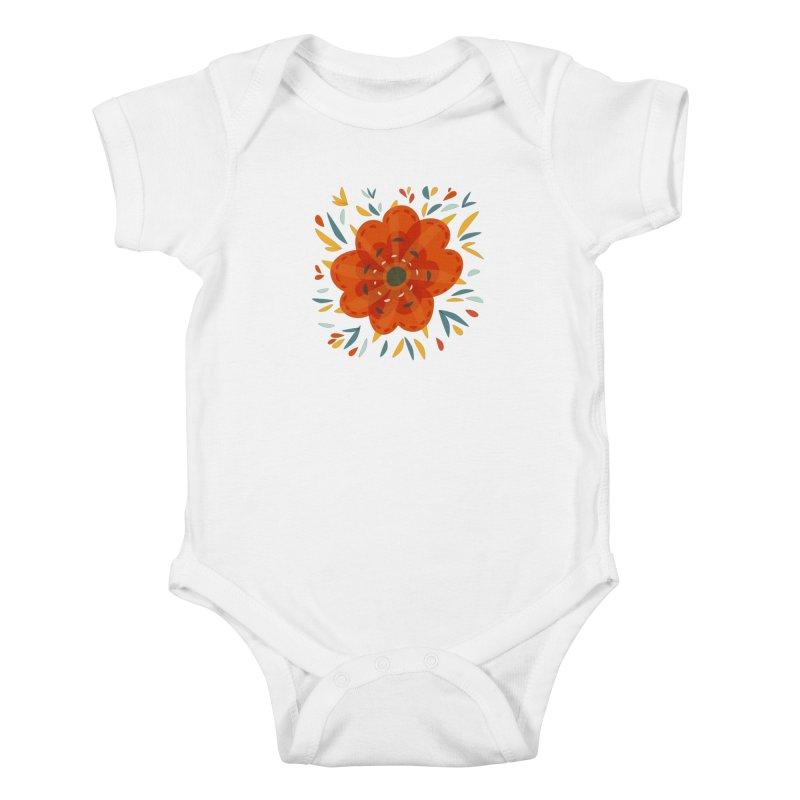 Decorative Orange Flower Kids Baby Bodysuit by Boriana's Artist Shop