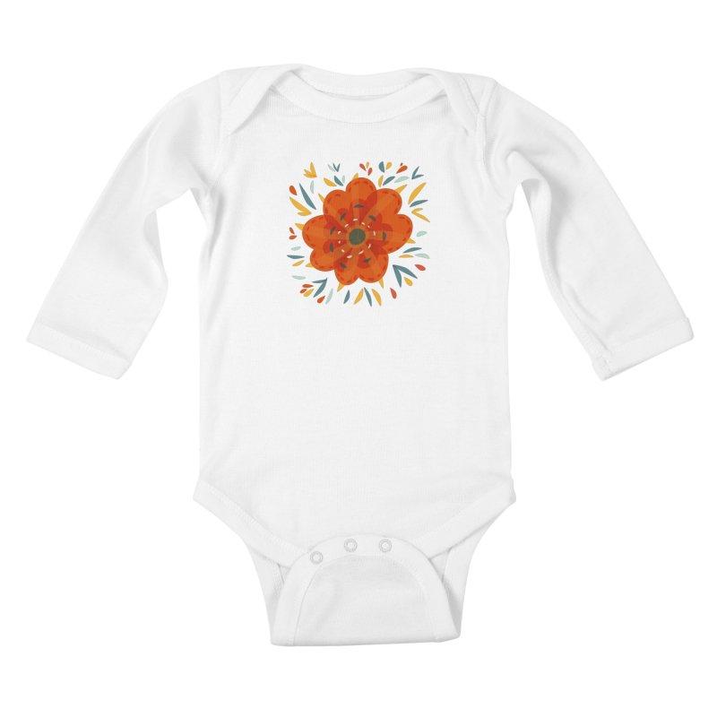 Decorative Orange Flower Kids Baby Longsleeve Bodysuit by Boriana's Artist Shop