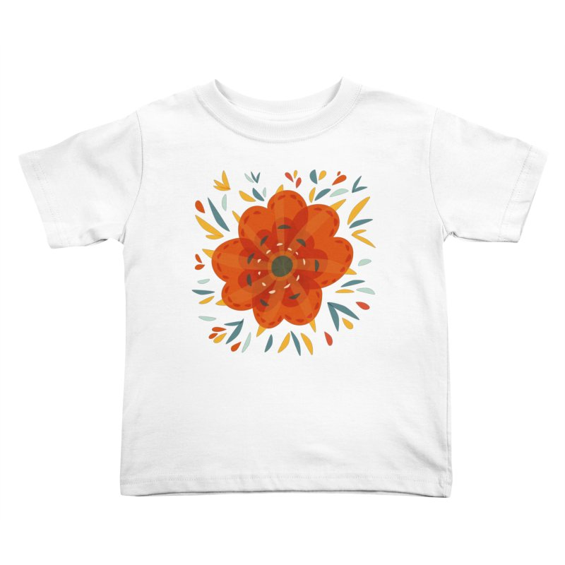 Decorative Orange Flower Kids Toddler T-Shirt by Boriana's Artist Shop