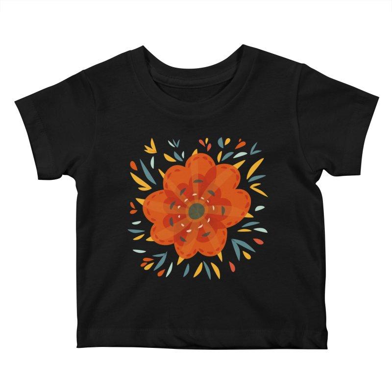 Decorative Orange Flower Kids Baby T-Shirt by Boriana's Artist Shop