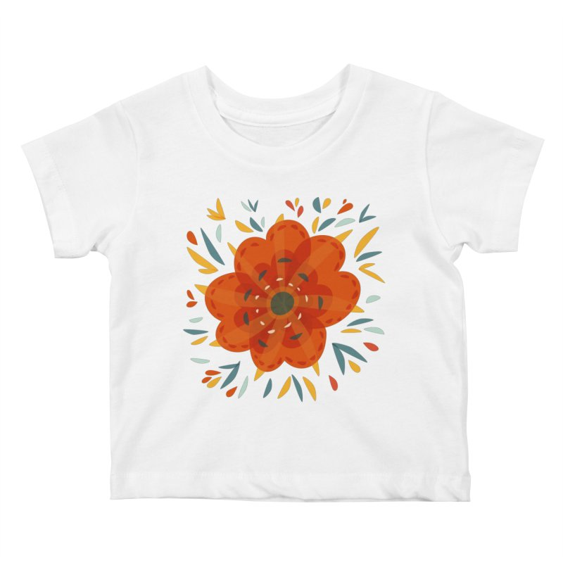 Decorative Orange Flower Kids Baby T-Shirt by Boriana's Artist Shop