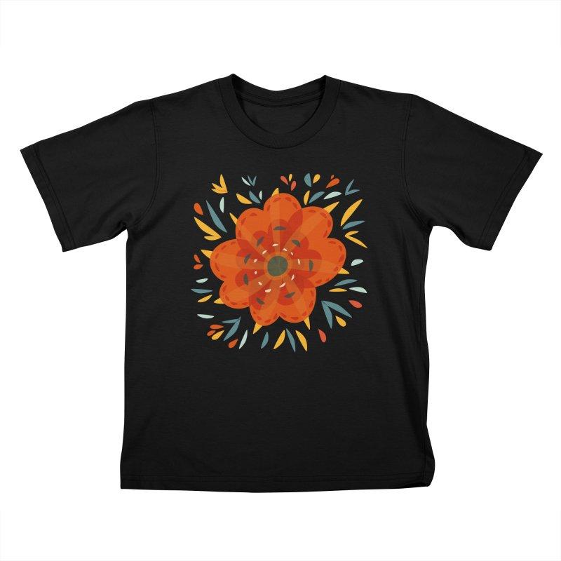 Decorative Orange Flower Kids T-Shirt by Boriana's Artist Shop