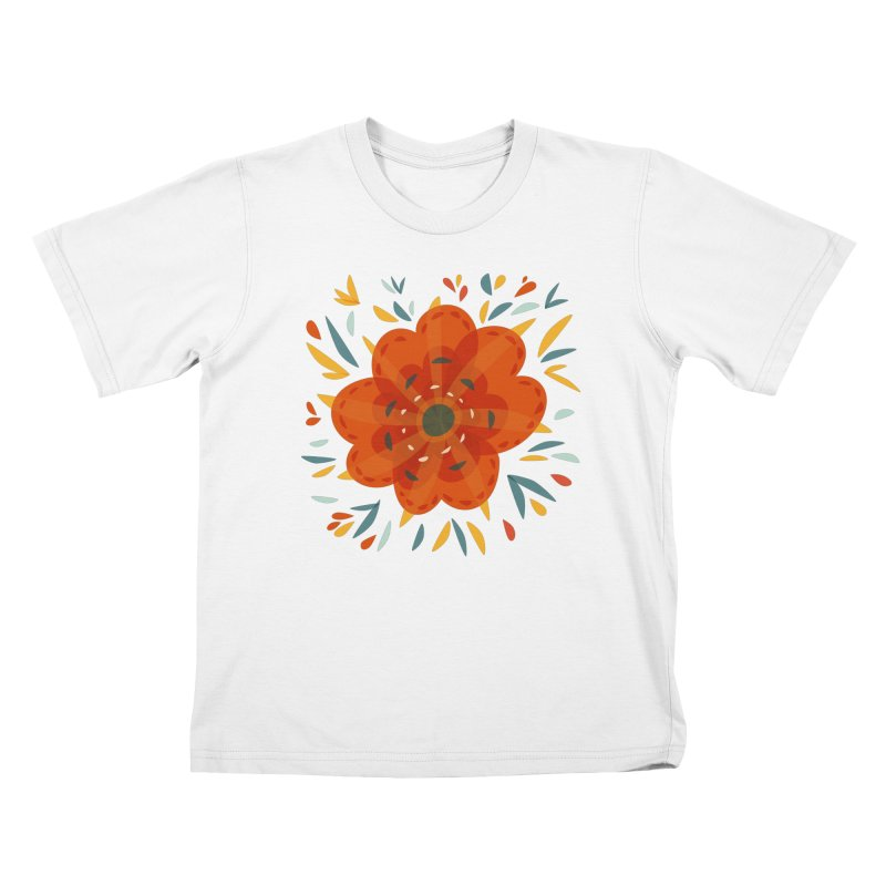 Decorative Orange Flower Kids T-Shirt by Boriana's Artist Shop