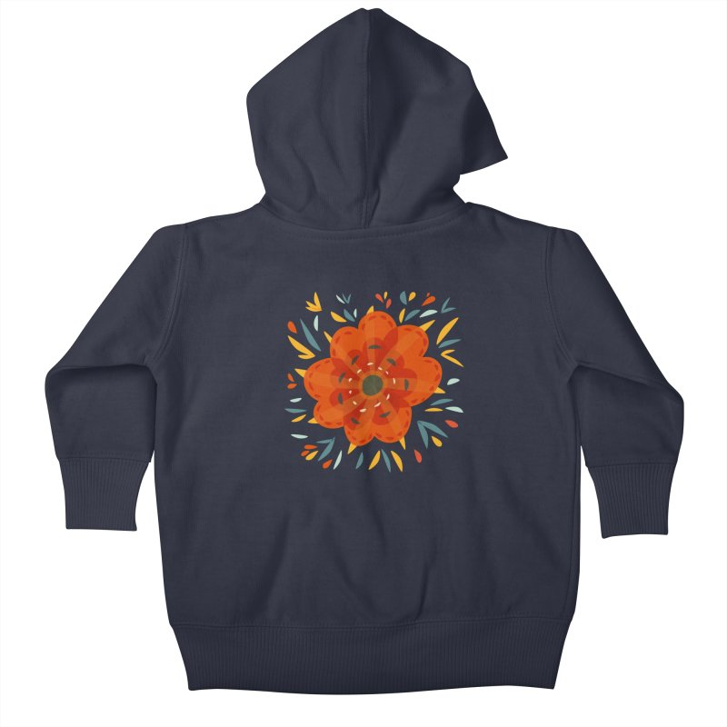 Decorative Orange Flower Kids Baby Zip-Up Hoody by Boriana's Artist Shop