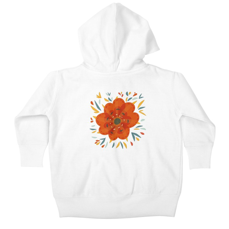 Decorative Orange Flower Kids Baby Zip-Up Hoody by Boriana's Artist Shop