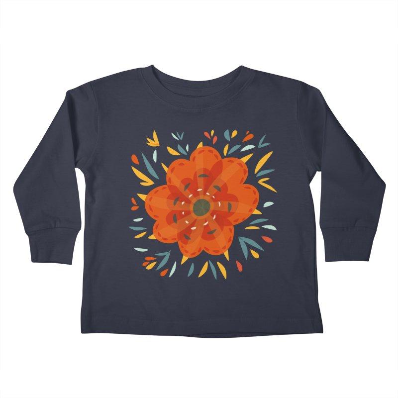 Decorative Orange Flower Kids Toddler Longsleeve T-Shirt by Boriana's Artist Shop