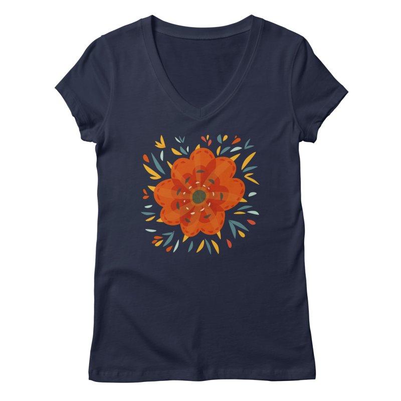 Decorative Orange Flower Women's Regular V-Neck by Boriana's Artist Shop