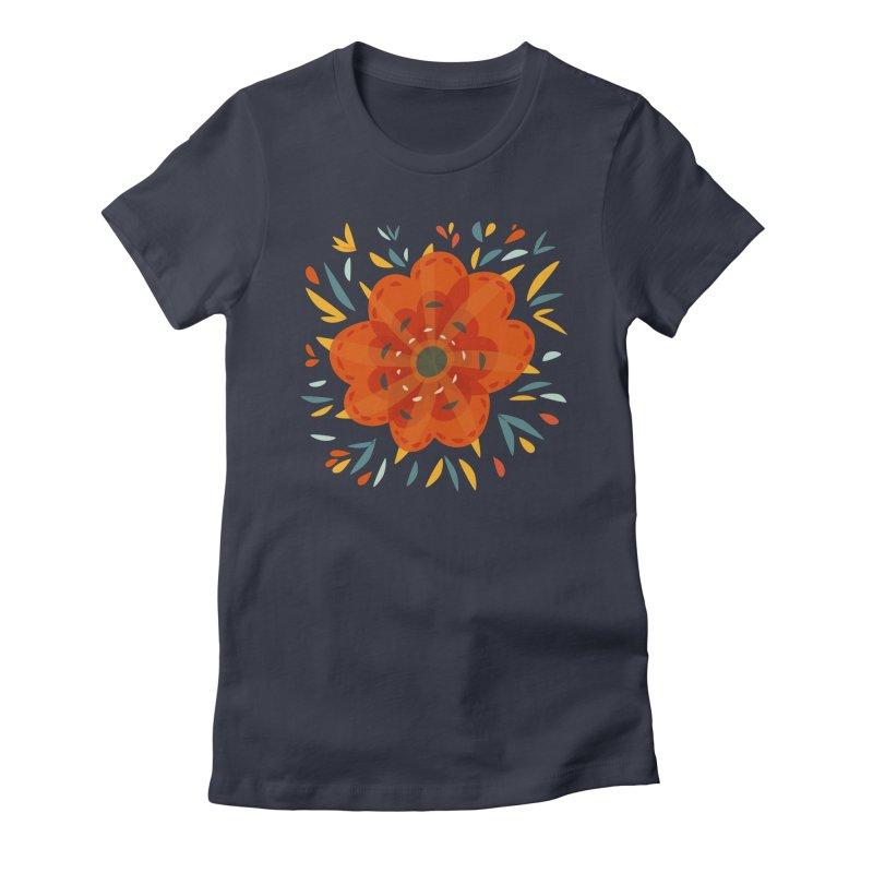 Decorative Orange Flower in Women's Fitted T-Shirt Midnight by Boriana's Artist Shop