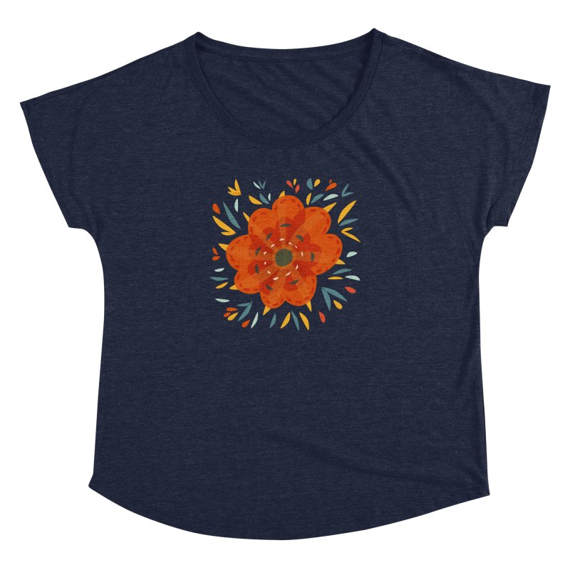 Decorative Orange Flower Women's Dolman Scoop Neck by Boriana's Artist Shop