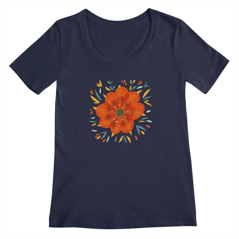Decorative Orange Flower Women's Regular Scoop Neck by Boriana's Artist Shop