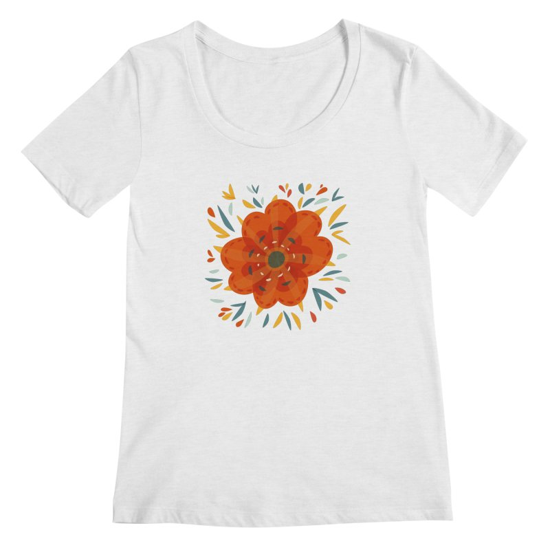 Decorative Orange Flower Women's Scoop Neck by Boriana's Artist Shop