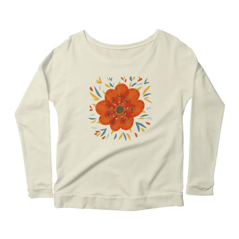 Decorative Orange Flower Women's Scoop Neck Longsleeve T-Shirt by Boriana's Artist Shop
