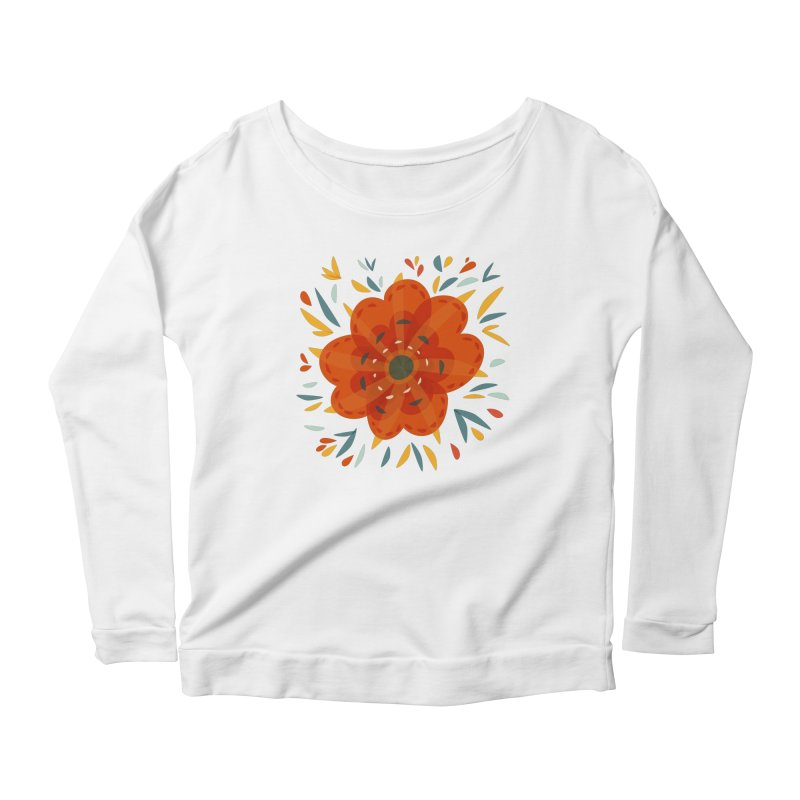 Decorative Orange Flower Women's Scoop Neck Longsleeve T-Shirt by Boriana's Artist Shop