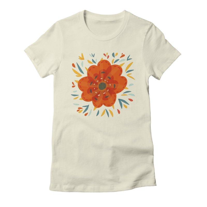 Decorative Orange Flower Women's Fitted T-Shirt by Boriana's Artist Shop