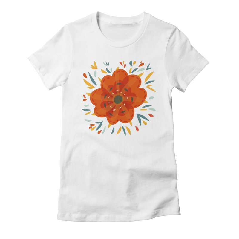 Decorative Orange Flower Women's Fitted T-Shirt by Boriana's Artist Shop
