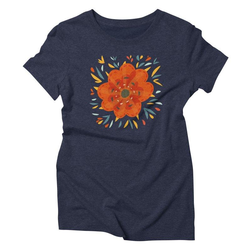 Decorative Orange Flower Women's Triblend T-Shirt by Boriana's Artist Shop