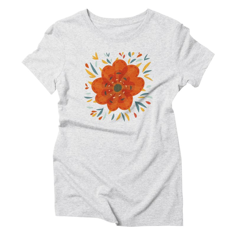 Decorative Orange Flower Women's Triblend T-Shirt by Boriana's Artist Shop