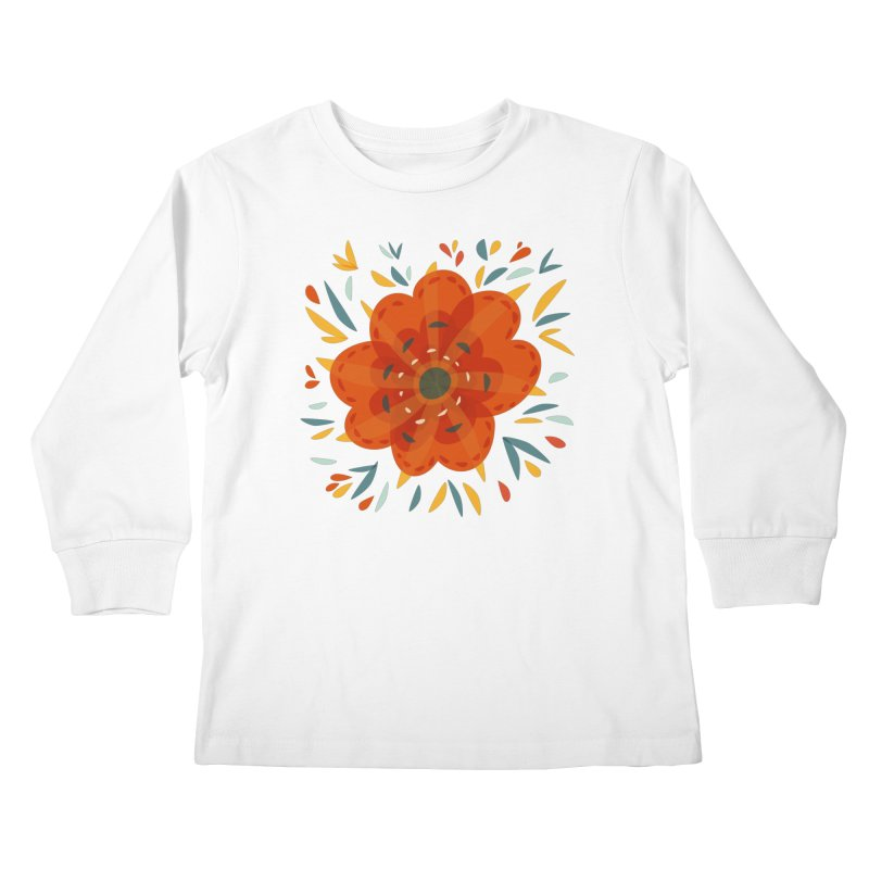 Decorative Orange Flower Kids Longsleeve T-Shirt by Boriana's Artist Shop