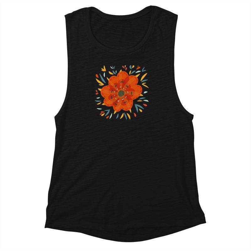 Decorative Orange Flower Women's Muscle Tank by Boriana's Artist Shop