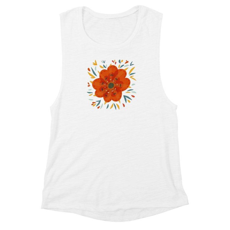 Decorative Orange Flower Women's Muscle Tank by Boriana's Artist Shop