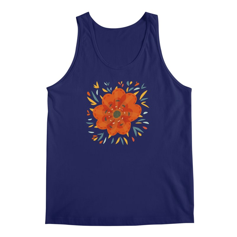 Decorative Orange Flower Men's Regular Tank by Boriana's Artist Shop
