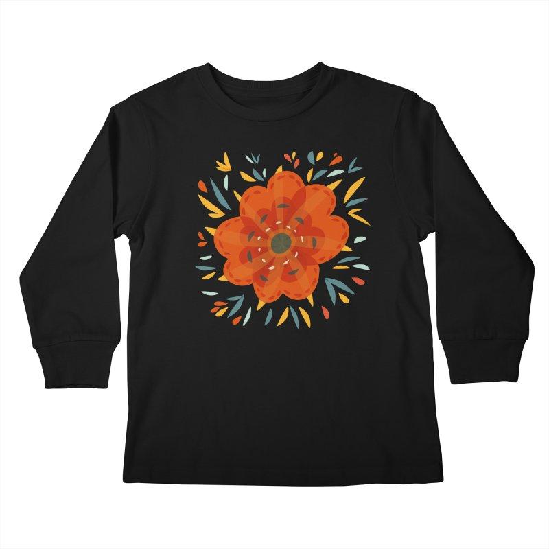 Decorative Orange Flower Kids Longsleeve T-Shirt by Boriana's Artist Shop