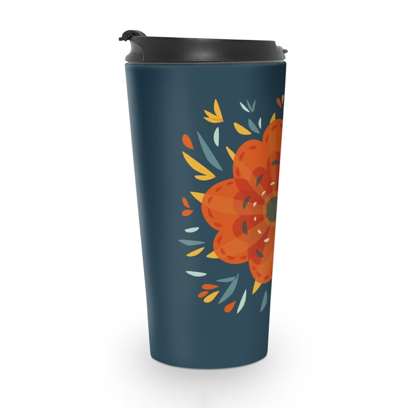 Decorative Orange Flower Accessories Travel Mug by Boriana's Artist Shop