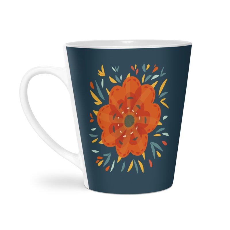 Decorative Orange Flower Accessories Latte Mug by Boriana's Artist Shop