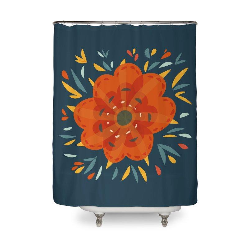 Decorative Orange Flower Home Shower Curtain by Boriana's Artist Shop