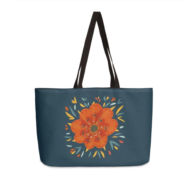 Decorative Orange Flower Accessories Weekender Bag Bag by Boriana's Artist Shop