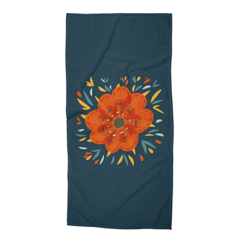 Decorative Orange Flower Accessories Beach Towel by Boriana's Artist Shop