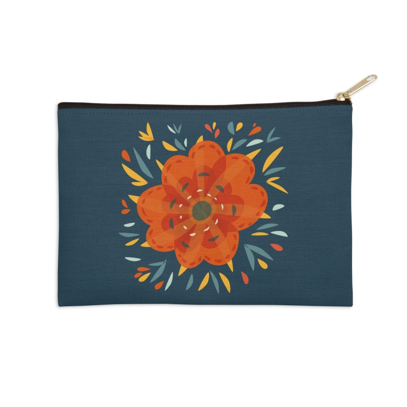 Decorative Orange Flower Accessories Zip Pouch by Boriana's Artist Shop