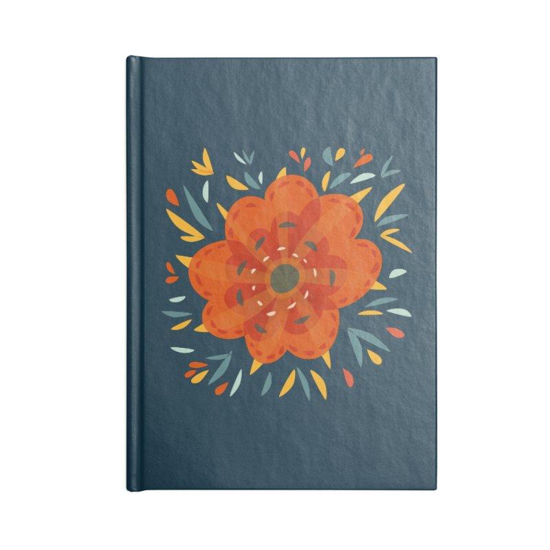 Decorative Orange Flower Accessories Lined Journal Notebook by Boriana's Artist Shop