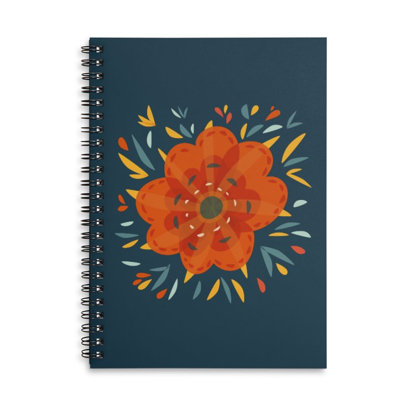 Decorative Orange Flower Accessories Lined Spiral Notebook by Boriana's Artist Shop