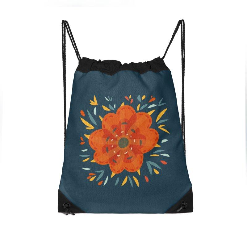 Decorative Orange Flower Accessories Drawstring Bag Bag by Boriana's Artist Shop
